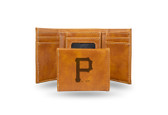 Pittsburgh Pirates Laser Engraved Brown Trifold Wallet