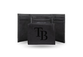 Tampa Bay Rays Laser Engraved Black Trifold Wallet