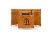 Tampa Bay Rays Laser Engraved Brown Trifold Wallet