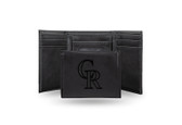 Colorado Rockies Laser Engraved Black Trifold Wallet