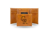 Colorado Rockies Laser Engraved Brown Trifold Wallet