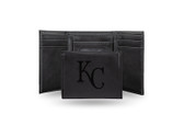 Kansas City Royals Laser Engraved Black Trifold Wallet