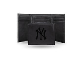 New York Yankees Laser Engraved Black Trifold Wallet