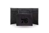 Philadelphia 76ers Laser Engraved Black Trifold Wallet