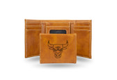 Chicago Bulls Laser Engraved Brown Trifold Wallet