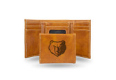 Memphis Grizzlies Laser Engraved Brown Trifold Wallet
