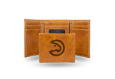 Atlanta Hawks Laser Engraved Brown Trifold Wallet