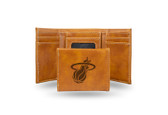 Miami Heat Laser Engraved Brown Trifold Wallet