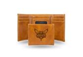 Charlotte Hornets Laser Engraved Brown Trifold Wallet