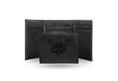 Charlotte Hornets Laser Engraved Black Trifold Wallet