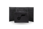Utah Jazz Laser Engraved Black Trifold Wallet