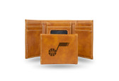 Utah Jazz Laser Engraved Brown Trifold Wallet