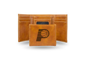Indiana Pacers Laser Engraved Brown Trifold Wallet