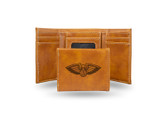 New Orleans Pelicans Laser Engraved Brown Trifold Wallet