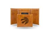 Toronto Raptors Laser Engraved Brown Trifold Wallet