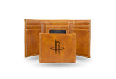 Houston Rockets Laser Engraved Brown Trifold Wallet