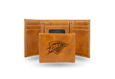 Oklahoma City Thunder Laser Engraved Brown Trifold Wallet