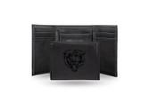 Chicago Bears Laser Engraved Black Trifold Wallet