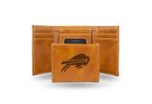 Buffalo Bills Laser Engraved Brown Trifold Wallet