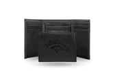 Denver Broncos Laser Engraved Black Trifold Wallet