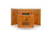 Cleveland Browns Laser Engraved Brown Trifold Wallet