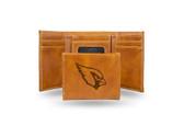 Arizona Cardinals Laser Engraved Brown Trifold Wallet