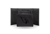 Arizona Cardinals Laser Engraved Black Trifold Wallet