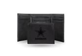 Dallas Cowboys Laser Engraved Black Trifold Wallet