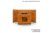 New York Giants BROWN FAUX LEATHER LASER ENGRAVED TRIFOLD WITH BLACK LOGO