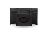 New York Jets Laser Engraved Black Trifold Wallet