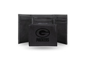 Green Bay Packers Laser Engraved Black Trifold Wallet