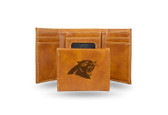 Carolina Panthers - CR Laser Engraved Brown Trifold Wallet