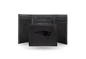 New England Patriots Laser Engraved Black Trifold Wallet