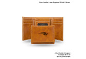 New England Patriots BROWN FAUX LEATHER LASER ENGRAVED TRIFOLD WITH BLACK LOGO