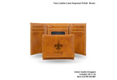 New Orleans Saints BROWN FAUX LEATHER LASER ENGRAVED TRIFOLD WITH BLACK LOGO