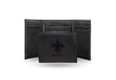 New Orleans Saints Laser Engraved Black Trifold Wallet