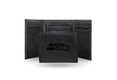Seattle Seahawks Laser Engraved Black Trifold Wallet