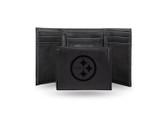 Pittsburgh Steelers Laser Engraved Black Trifold Wallet