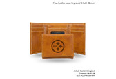 Pittsburgh Steelers BROWN FAUX LEATHER LASER ENGRAVED TRIFOLD WITH BLACK LOGO