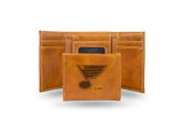 St. Louis Blues  Laser Engraved Brown Trifold Wallet