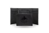 Vancouver Canucks  Laser Engraved Black Trifold Wallet