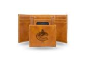 Vancouver Canucks  Laser Engraved Brown Trifold Wallet