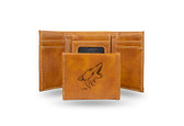Phoenix Coyotes  Laser Engraved Brown Trifold Wallet