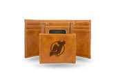 New Jersey Devils  Laser Engraved Brown Trifold Wallet