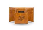 Anaheim Ducks  Laser Engraved Brown Trifold Wallet