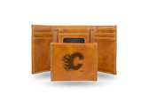 Calgary Flames  Laser Engraved Brown Trifold Wallet