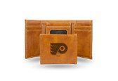 Philadelphia Flyers  Laser Engraved Brown Trifold Wallet