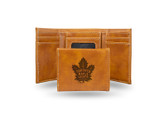 Toronto Maple Leafs  Laser Engraved Brown Trifold Wallet