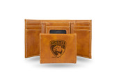 Florida Panthers  Laser Engraved Brown Trifold Wallet