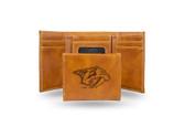 Nashville Predators  Laser Engraved Brown Trifold Wallet